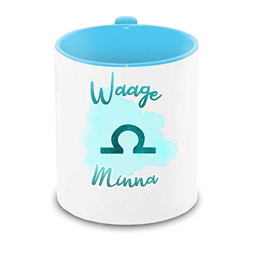 Tasse mit Namen Minna und Sternzeichen-Motiv Waage im Lettering-Stil | Keramik-Tasse hellblau | Astrologie-Geschenk