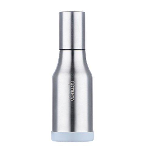 TENTA KITCHEN - Vinagrera/aceitera de Acero Inoxidable/dispensador de condimentos líquidos, Acero Inoxidable, Plateado, 500 ml,Anillo de Silicona Antideslizante