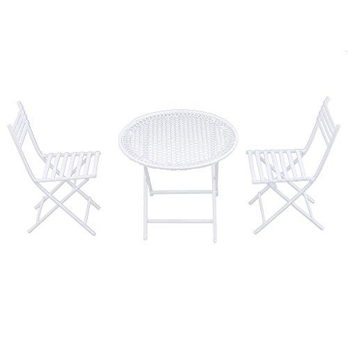 chiwanji 1:12 Mueble Miniatura CASA de MUÑECAS Redonda de Metal Blanco con Juego de 2 SILLAS