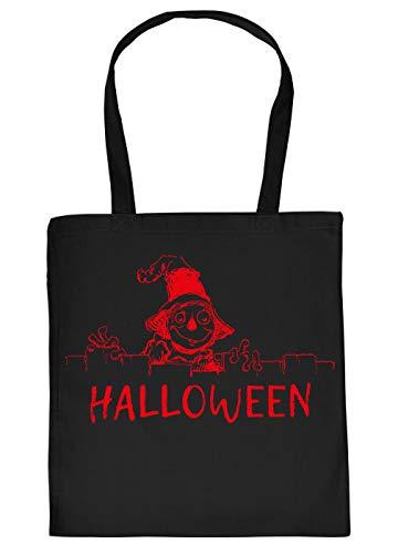 Lustiges Monster hinterm Zaun Motiv Halloween Tragetasche - Einkaufstasche : Halloween - Tasche Süßigkeiten - Farbe : Schwarz