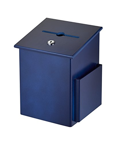 AdirOffice Square Wood Suggestion Box - Wall Mountable - with Lock & Chained Pen - Donation, Collection, Ballot, Key Drop, (Blue)