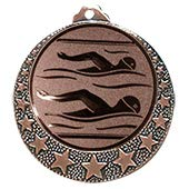 Deitert Schwimm Medaille Brixia Ø 32mm mit Emblem und Band Bronze