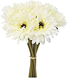 Sweet Home Deco 13'' Silk Artificial Gerbera Daisy Flower Bunch (W/ 7stems, 7 Flower Heads) Home/Wedding (White)