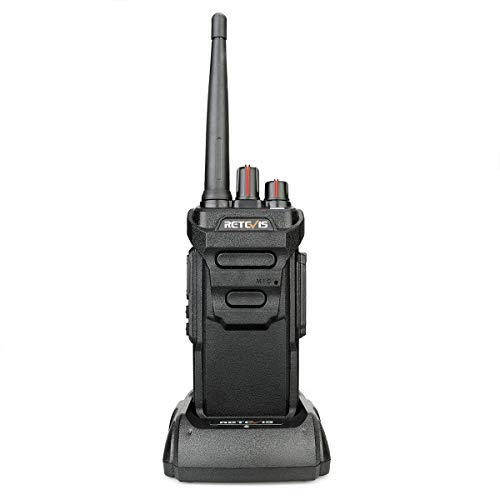 Retevis RT648 IP67 Impermeable Walkie Talkie, PMR446 Radio Bidireccional Larga Distancia Recargable, VOX, Base de Carga USB, Radio Profesional para Esquiar, Navegar (Negro, 1 Pieza)