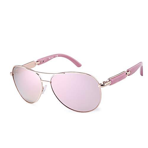 WPHH Polarizado Gafas De Sol De Las Mujeres Vintage Gafas De Piloto Gafas Espejo Color Rosa Hombres Señoras,Rosado