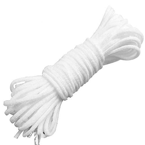 Elastisches Band, 3 mm, weißes elastisches Seil/elastisches Seil, hohe Elastizität, für Nähen, Basteln, Heimwerken, Tagesdecke 200 Yard