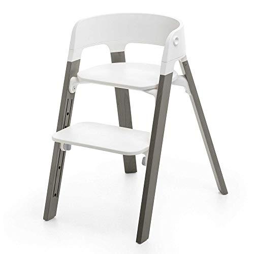 Chaise haute Steps assise blanche pieds hêtre gris - Stokke