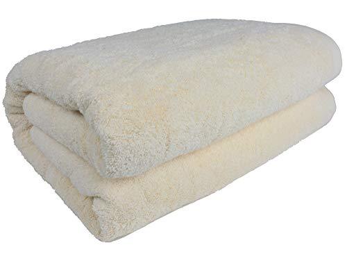 """SALBAKOS 40""""x80"""" Turkish Cotton Bath Sheet, Luxury, Eco-Friendly Large Oversized (40x80, Ivory)"""