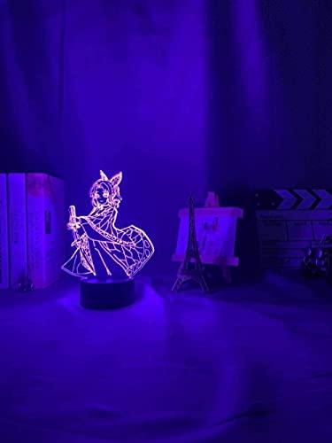 MENG Demonio Slayer Kocho Kanae Luz para Decoración de Dormitorio Niños Niños Regalo de Cumpleaños Manga Kocho Kanae Lámpara Kimetsu No Yaiba 3D Noche Luz