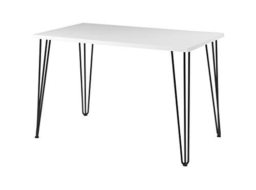 Euro Tische Esszimmertisch weiß Hochglanz Industrial Design Metallgestell - sehr Kratzfest - perfekt geeignet als Esstisch/Wohnzimmertisch - Made in Germany (140x80x74 cm)