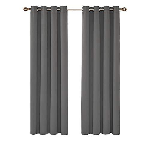 Deconovo Cortinas Opacas de Salón Dormitorio Moderno Aislantes Térmicas de Color Liso con Ollaos 2 Piezas 140 x 175 cm Gris Claro