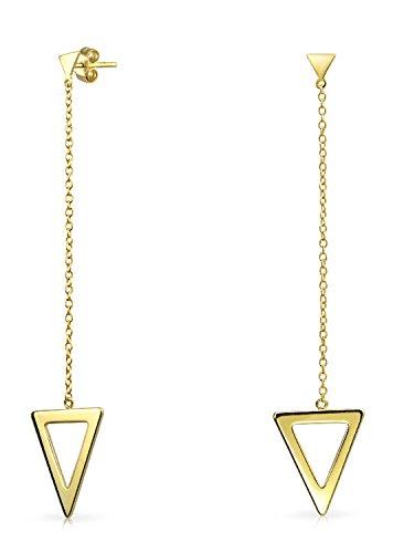 Lineal Geométrico Minimalista De Cadena Larga Flecha Triangular Colgante Pendiente Para Mujer Chapado En Oro De 14K 925