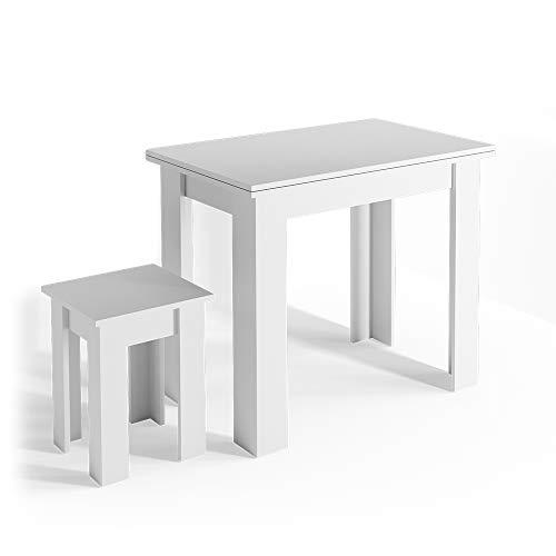 Vicco Details Eckbankgruppe Roman Esszimmergruppe Sitzgruppe Küchensitzgruppe Bank Tisch Hocker (Weiß, Tisch + Hocker)