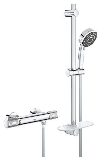 GROHE Precision Feel | Brause- & Duschsysteme | Brauseset inkl. Thermostat-Duscharmatur, Handbrause mit 3 Strahlarten, Brausestange - und schlauch| chrom | 34791000