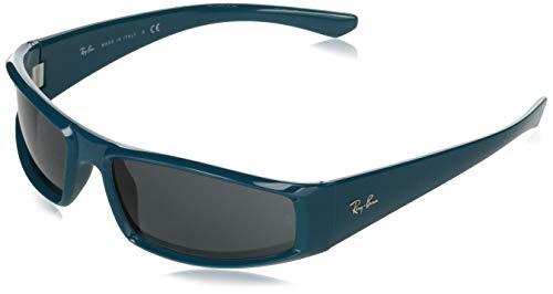 Ray-Ban RB4335 Rectangular Sunglasses, Turquoise/Dark Grey, 58 mm