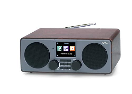 Xoro DAB 600 IR V2 Stereo Internet DAB+/UKW Radio - Internet-Radio mit WLAN, 2 x 5 Watt RMS, USB 2.0, App-Steuerung, AUX, Weckfunktion, Wetterstation, inkl. Fernbedienung braun/grau