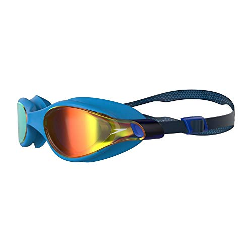 Speedo Vue Mirror Gafas de natación, Men's, Azul Marino/Pool/Gold Shadow, One Size