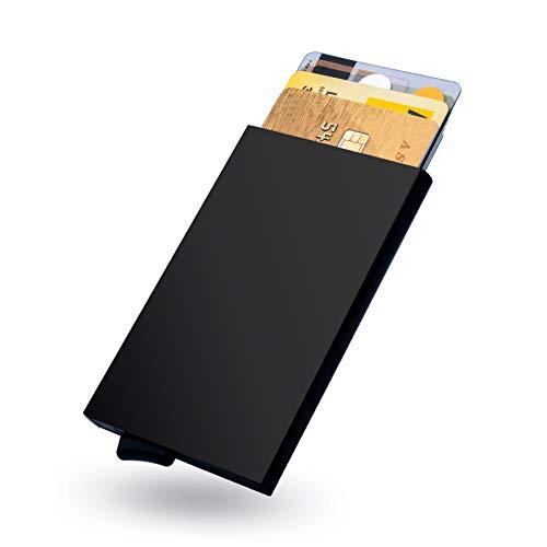 Kreditkartenetui | Kartenetui | Slim Wallet | RFID NFC Schutz | bis 6 Karten | Mini Geldbörse| Portemonnaie Herren | Geldbeutel | Geldboerse | portmonee (Geldklammer)