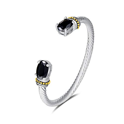 UNY Stainless Steel Cuff Bangles Crystal Mosaic Bracelet Bangle for Women Fashion Jewelry BR75854 (Black)