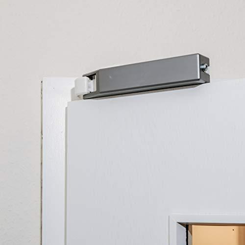 PRIMAS - automatischer Türanlehner Innentür - Anlehnen und Softclose - [Weiß und Silber] Made in Germany