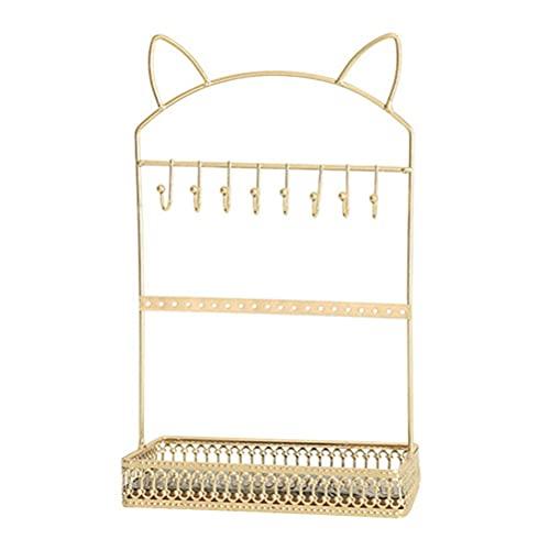 LIXBD - Espositore per orecchini a forma di gatto, per donne e ragazze (colore: Oro)