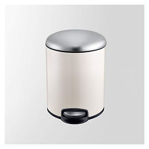 xiaokeai Papierkorb Edelstahl Step Trash Can Startseite Wohnzimmer Badezimmer Pedal Müllbehälter Kreative Küche Fußpedal mit Deckel Papierkorb 3 Farben Mülleimer (Color : White-13L)