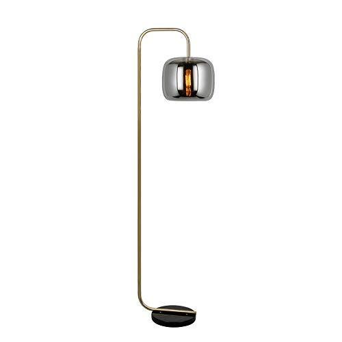 Nordic Style Light Stehlampe für Musterzimmer Villa Wohnzimmer Stehlampenfuß Silber Stehlampenfuß Schwarz American Minimalist Creative Metal Glass Lampenschirm
