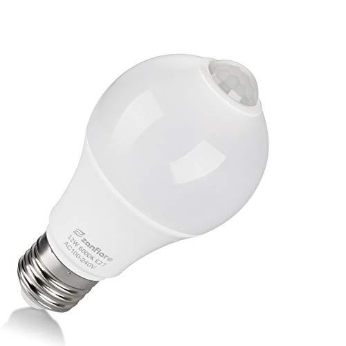 Zanflare - (1 Pack) Bombilla de sensor de movimiento, 12 W, E27, LED, para escaleras, garaje, puerta, jardín, patio, luz blanca fría (6000 K) [Clase de eficiencia energética A+]