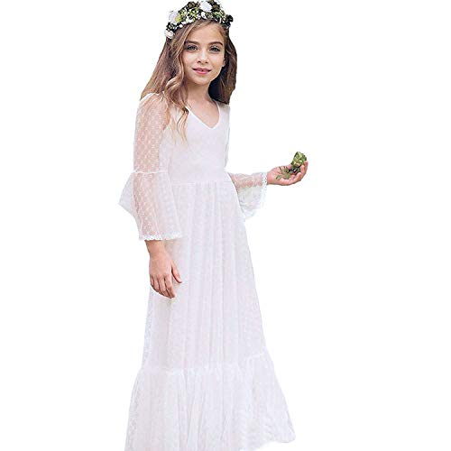 Boho-Chic Lace First Communion Dresses Off-White Size 8