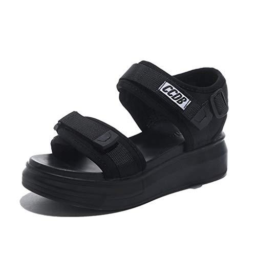 Sandali sportivi da donna con plateau e punta aperta Adesivo magico in pelle con punta aperta...