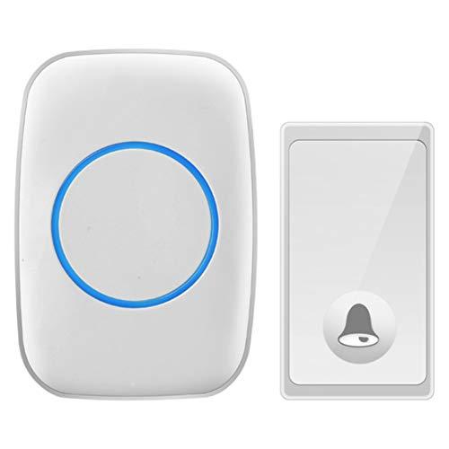 JFSKD zelfgenererende deurbel, draadloze huisdeurbel, één tot één batterijloze waterdichte deurbel, 58 muziekbeltonen, 4-traps volumeregeling, power-off-geheugenfunctie