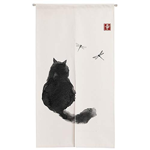 """Ofat Home Design Japanese Ink Cat Black and White Noren Doorway Curtain Polyester Blend 33.5""""x 59"""" Door Curtain for Kitchen Tapestry for Wall Hanging Decoration"""