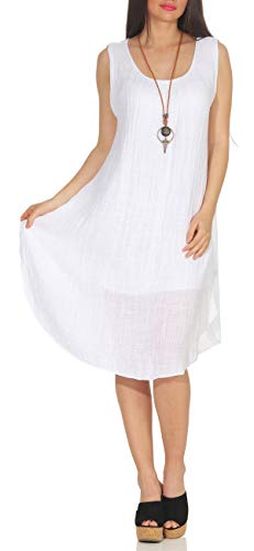 Matyfashion angesagtes Sommerkleid Strandkleid Maxikleid mit Tupfen Freizeitkleid 35 (Weiß)