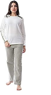 Andora Cotton Long Sleeves Contrast Yoke Top with Plaid Pants Pajama Set for Women - Multi Color, L