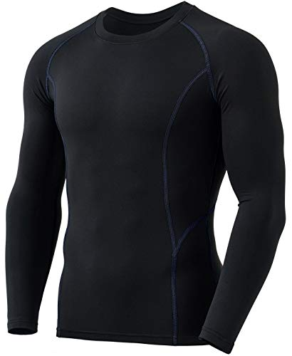 TSLA Men's Thermal Long Sleeve Compression Shirts, Athletic Base Layer Top, Winter Gear Running T-Shirt, Heatlock Round Neck Black & Charcoal, XX-Large