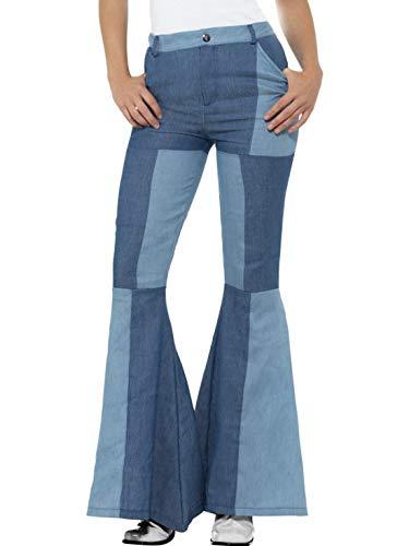 Luxuspiraten - Damen Frauen 70er Jahre Kostüm Schlaghose im Jeans Look Trompeten-Stil, perfekt für Karneval, Fasching und Fastnacht, L, Blau