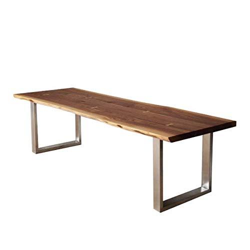 Table de salle à manger avec pieds en forme de U en bois massif de noyer de style rustique industriel (150 x 75 x 75 cm)