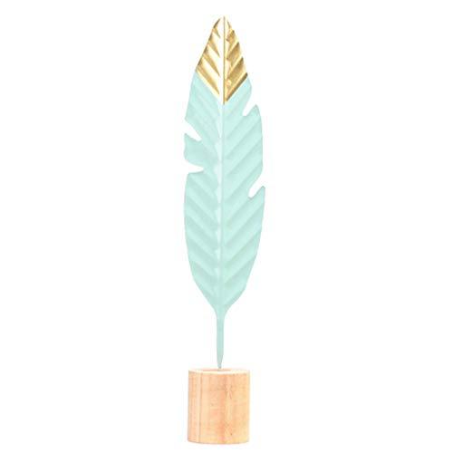Joocyee Modern Feather Decoraciones para el hogar de Madera Mesa de jardín de Hadas Figuras en Miniatura, L Muebles para el hogar Decoración Creativa de Plumas de Hierro, L