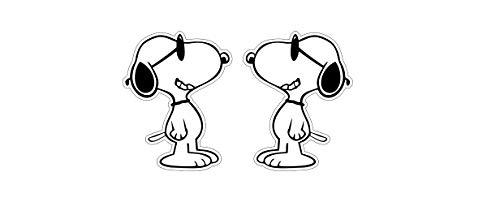 Snoopy Cool Aufkleber x2 niedlich Süss knudelig Hund Dog Comic Sticker Autocollants / Plus Schlüsselringanhänger aus Kokosnuss-Schale / Auto Motorrad Helm Laptop Notebook Koffer Snowboard Skateboard