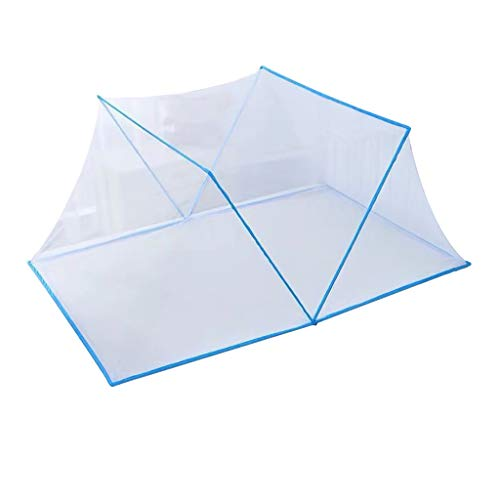 Pop-Up Mosquito Net Tent for Beds, Anti Mosquito Bites Folding Design with Net Bottom for Babys Adults Trip, Insect Protection Bed Canopy for Single to Queen Size, Indoor Outdoor (Sky Blue, Large)