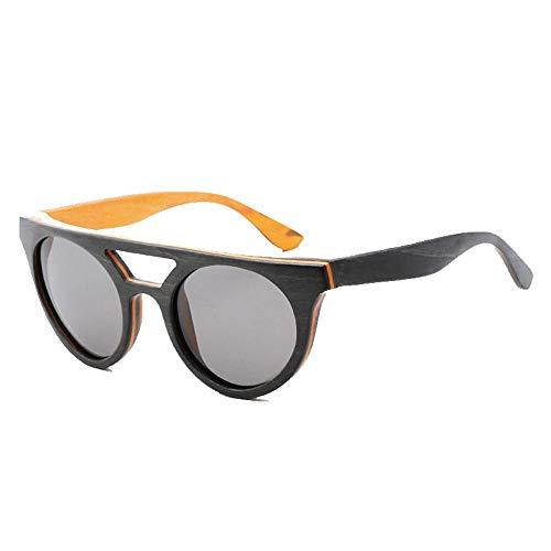 Bradoner Gafas De Sol Polarizadas De Madera Gris Uv400 Gafas De Sol Vintage con Marco De Madera For Hombres