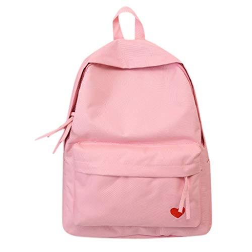Pure Color Backpack for Ladies Fashion Women Outdoor Solid Color Multifunctional Backpack Shoulder Bag Black Bag Brand Bag (Color : Pink)