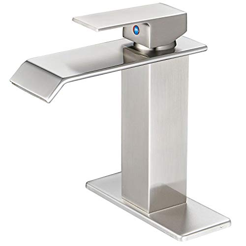 BWE Waterfall Spout Brushed Nickel Single Handle One Hole Bathroom Sink Faucet Deck Mount Lavatory Commercial