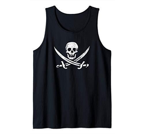Calico Jack Sword Pirate Flag Jolly Roger Pirata Graphic Canotta