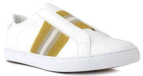 LONDON FOG Womens Slip-on Fashion Sneaker Casual Shoes -Briton Gold 11