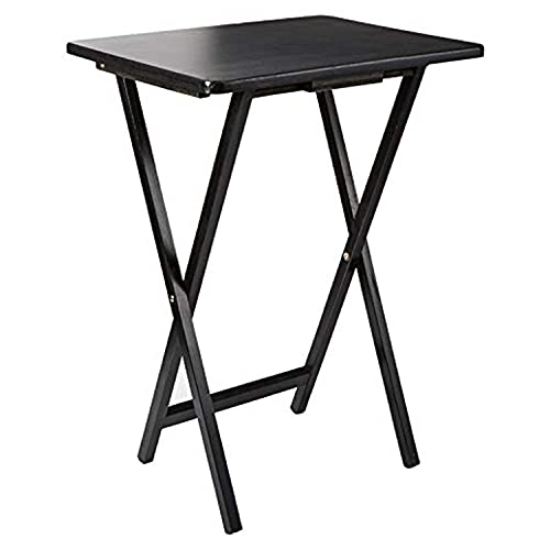Unibos Indoor &Outdoor Tea Coffee Snacks Garden Camping TV Laptop Portable Folding Sturdy and Durable Rubber Wood Table (Black)
