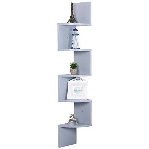 Estantería esquinera de pared para libros y objetos, hecha de tablero de fibra de densidad media (DM), color gris, 20 x 20 x 123 cm, repisas murales de madera, esquineras
