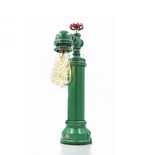 DIY smeedijzeren buis bureau lampen vintage industrie steampunk tafellamp Edison E27 metaal tafellamp café restaurant bar nostalgische robot lantaarn, dimmer schakelaar, D-B groen