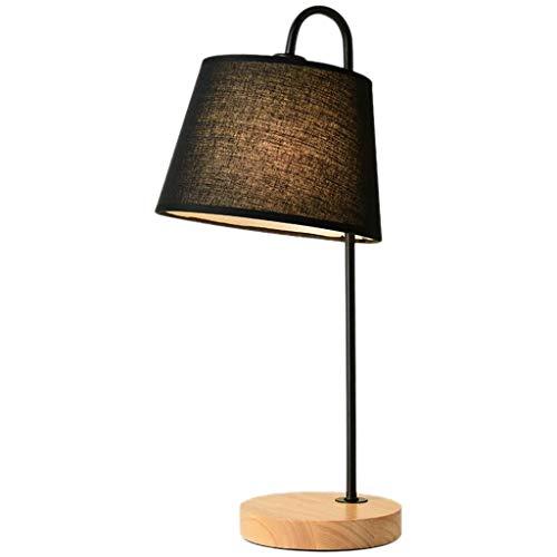 Slaapkamer tafellamp, sieraden tafellamp voedende tafellampen log hout zwart doek lampenkap bureaulamp 20 * 20 * 48 cm