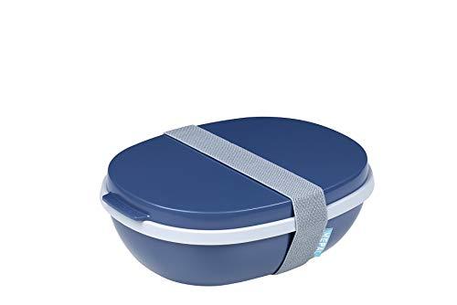 Mepal Nordic Denim Lunchbox Ellipse Duo, PP/TPE, 22.5 x 17.5 x 7.5 cm